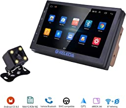Keleda 7001 Double Din Car Stereo with Backup Camera, Auto GPS Navigation System for Android 8.1 with WiFi Bluetooth Radio Receiver 7in Touchscreen LCD Monitor,in-Dash Multimedia Video Player (1+16G)