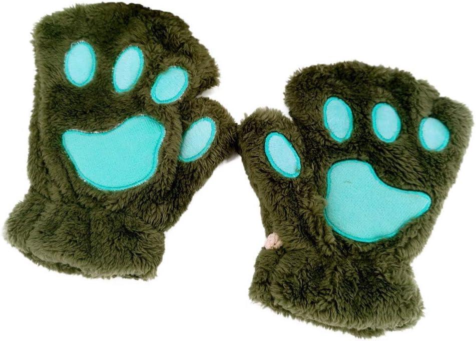 FILOL Women Winter Half Finger Cat Claw Plush Knitted Keyboard Long Fingerless Gloves Mitten