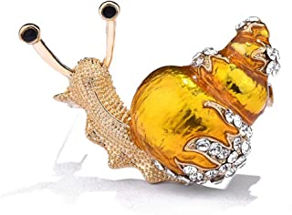 Enamel Snail Brooch, Gold Plated Bling Crystal Cute Animal Insect Pin Women Girls Jewelry