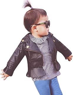 Kids Infant Baby Faux Leather Jacket Zipper Hooded Coats Outwear Coat