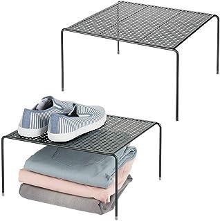 mDesign séparateur étagère pour garde-robe ou dressing (lot de 2) – organiseur d'armoire pratique en métal – aménageur de ...
