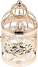 Flameer Electroplated Metal Birdcage Shape Tea Light Candle Holder Hollowed Flower Pattern Candlestick, 3.15 x 5.51inch - ...