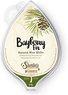 Bayberry Fir All Natural Soy Wax Melts - 1 Highly Scented 3 Oz. Bar - Made with Responsibly Sourced Soy and Essential Fragrance Oils - Phthalate & Paraffin Free, Vegan, Non-Toxic