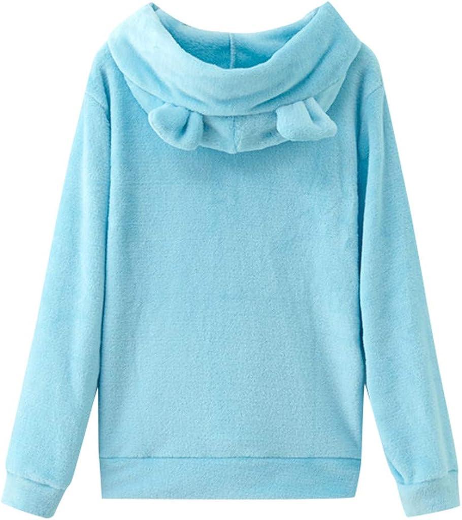 Girls' Hoodie, Misaky Pullover Sweatshirt Jumper Casual Loose Solid Color Long Sleeve Rabbit Ear Hooded Blouse