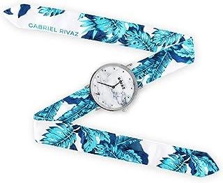 Montre Bracelet Foulard signée Gabriel Rivaz - Bracelet en Soie - Montre Fond marbré - Mécanisme Japonais - Turquoise Trop...