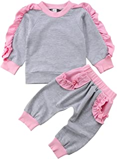 ITFABS Toddler Baby Girl Flower Print Hoodie Long Pants Cute Outfits Clothes