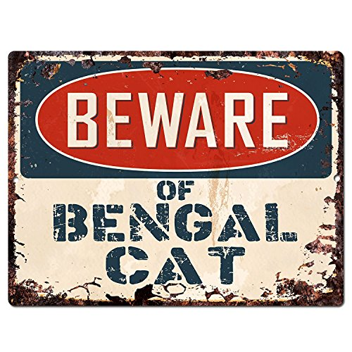 Beware of Bengal CAT Chic Sign Vintage Retro Rustic 9'x 12' Metal Plate Store Home Room Wall Decor Gift