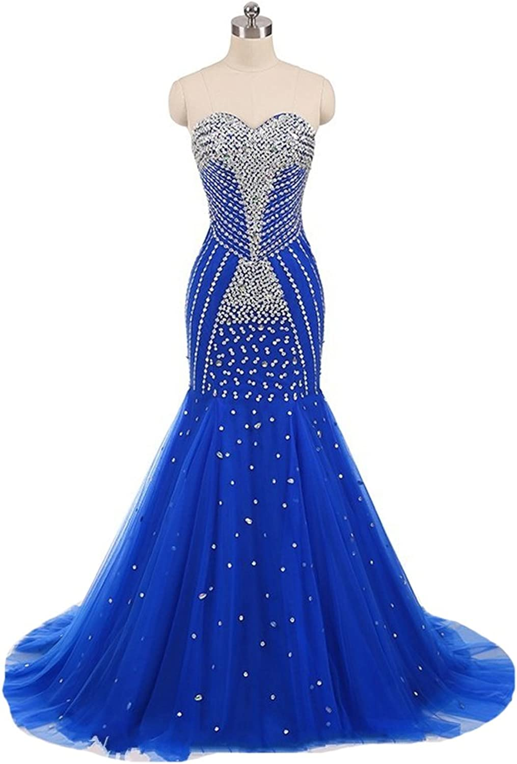 XPLE Sexy Mermaid Corset Prom Dresses 2018 Elegant Shiny Tulle Long Crystal Stones Elegant Formal Gowns for Pageant Women D48