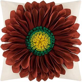 OiseauVoler Decorative Throw Pillow Case 3D Sunflowers Cushion Cover Handmade Canvas Pillowcase Home Sofa Car Bed Room Decor 18 x 18 Inch Dark Red