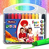 Shackcom Face Paint, 24 Colors Rotating Washable Non-Toxic 3 in 1 Effect -Crayon-Pastel-Watercolor-Body or Finger Painting Crayons for Kids Halloween Birthday Christmas Party Gift
