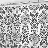 mDesign Long Decorative Damask Print - Easy Care Fabric Shower Curtain with Reinforced Buttonholes, for Bathroom Showers, Stalls and Bathtubs, Machine Washable - 72' x 84' - Charcoal Gray/White