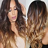 Sunwell 13x6 Human Hair Lace Front Wigs with Baby Hair 150% Density Brazilian Human Hair Wigs for Women Body Wave #1B/4/27 Ombre Color 3 Tone 14inch