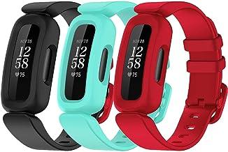 TopPerfekt 3-pack bandjes compatibel met Fitbit Ace 3 voor kinderen, zachte siliconen waterdichte armband accessoires spor...