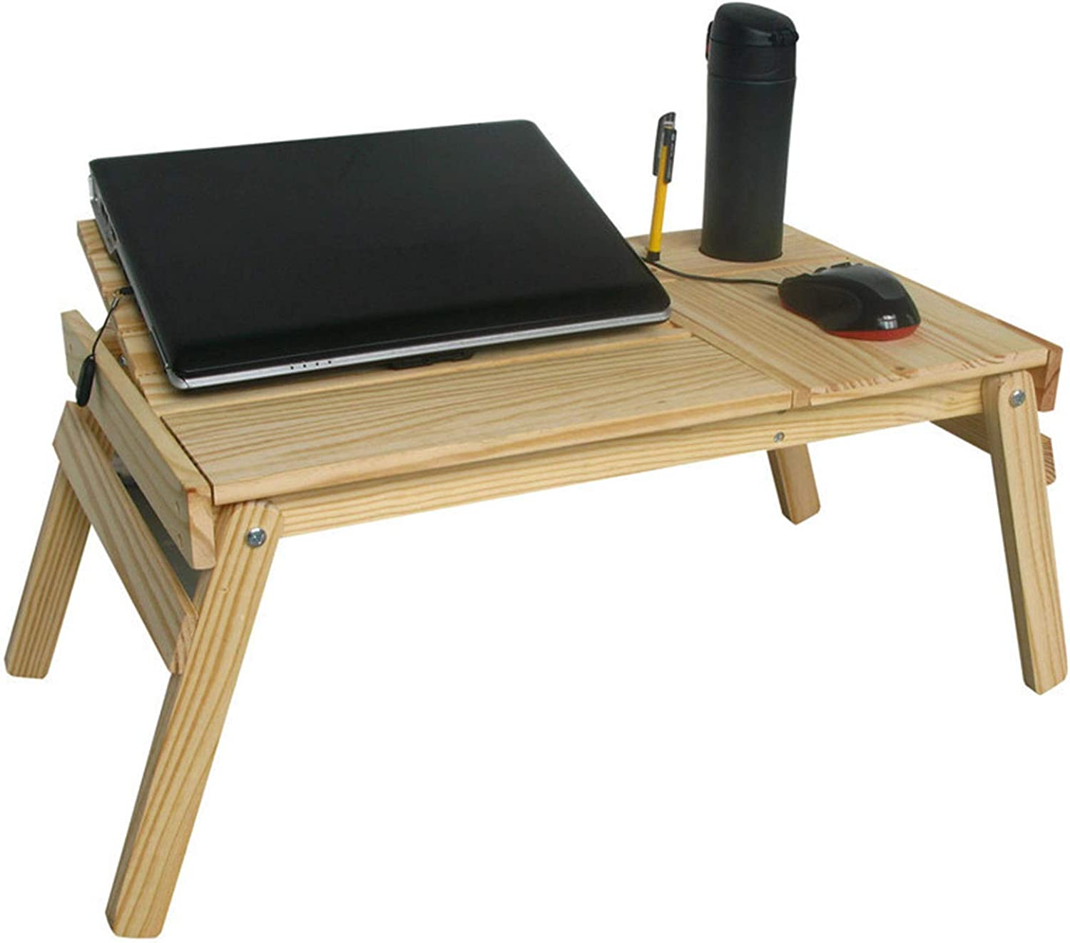 Solid Wood Laptop Desk Simple Environmental No Paint Folding Desk Ideal for Students Dormitory Home Bed Picnic Use
