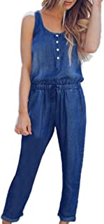95977f0eb931 vermers Womens Denim Jumpsuits Summer Holiday Jeans Playsuit Elastic Waist  Strappy Long Beach Rompers