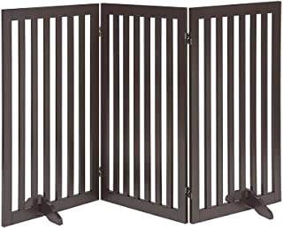 beeNbarks Freestanding Pet Gate for Dogs with 2PCS Support Feet, Foldable Wooden Dog Gates for Doorways Stairs, Indoor Pet...