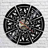 CVG Pepperoni Pizza Wall Art Reloj Decorativo Reloj de Pared de Cocina Disco de Vinilo 3D Reloj de Pared Moderno Decoración de Pared para pizzería