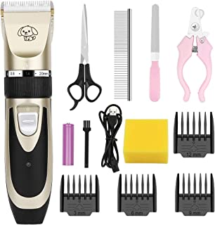 OurWarm Dog Grooming Clippers, USB Rechargeable Cordless Dog Clippers, 5 Speed Fine Adjustment Super Quiet Professional Pe...