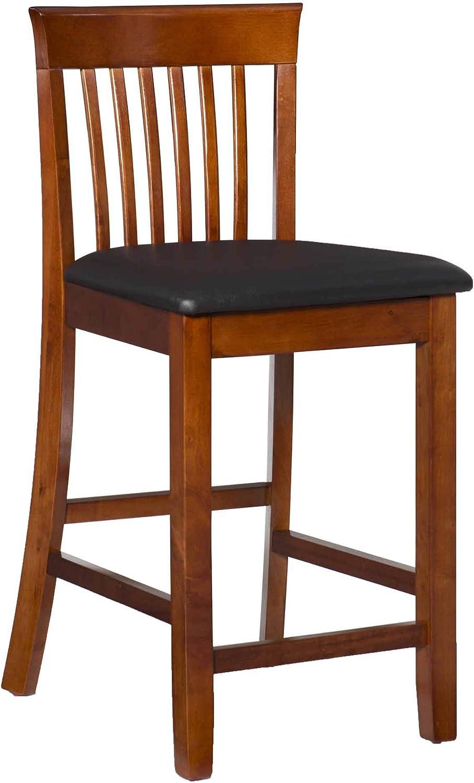 Linon Triena Red Cherry Wood Black half - Padded Seat Vinyl 24 inch Max 48% OFF