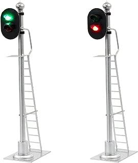 JTD433GR 2PCS Model Railroad Train Signals 2-Lights Block Signal 1:43 O Scale 12V Green-Red Traffic Lights for Train Layout New