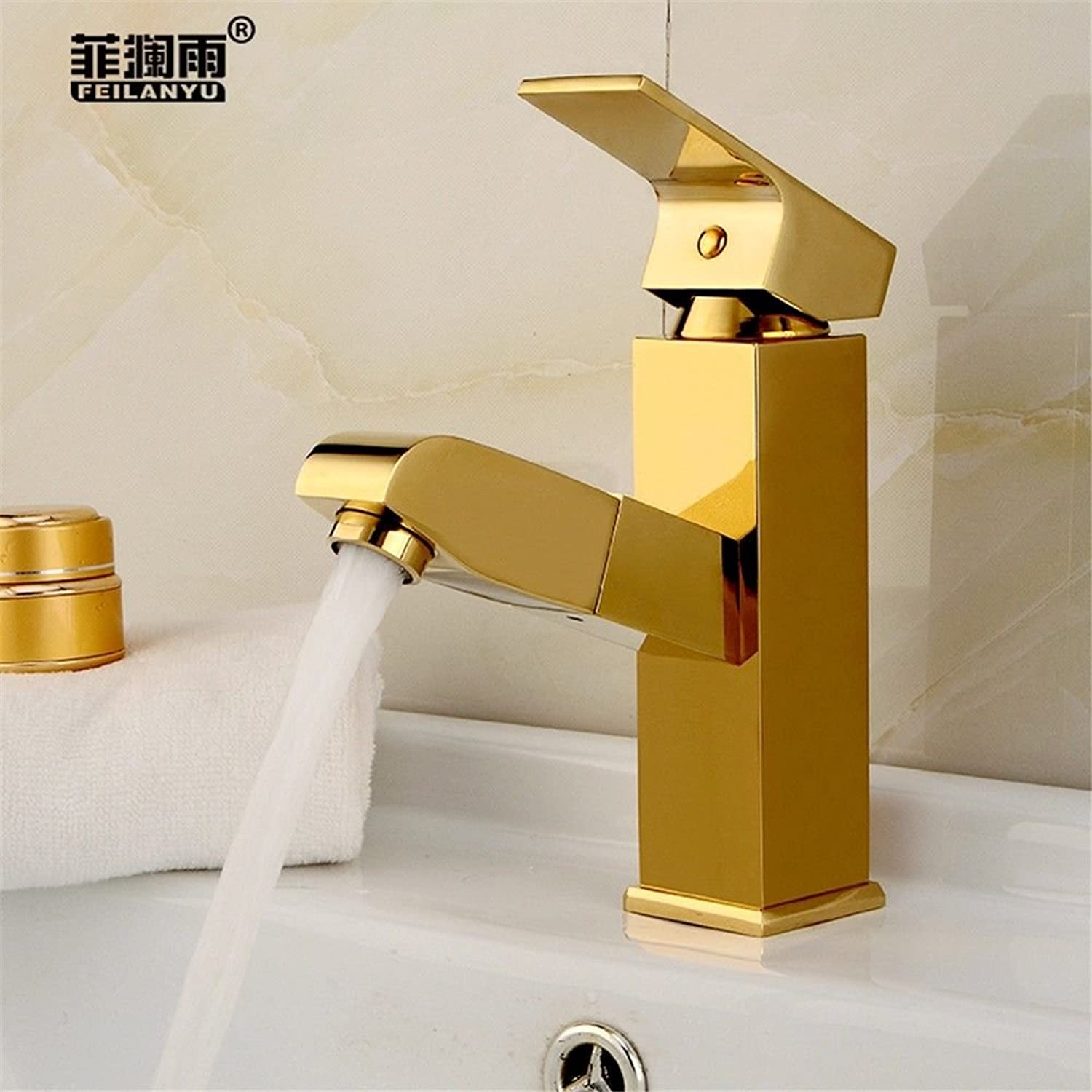 Lalaky Taps Faucet Kitchen Mixer Sink Waterfall Bathroom Mixer Basin Mixer Tap for Kitchen Bathroom and Washroom gold Stainless Steel Pull-Type Hot and Cold Expansion