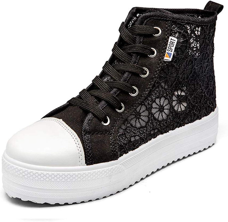 T-JULY Wedges Sneakers Cutouts Lace Canvas shoes Women shoes Flower Breathble Platform Flat shoes