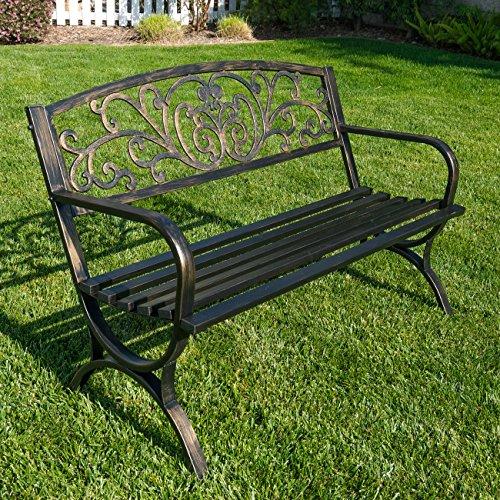 "BELLEZE 50"" Garden Backyard Bench, Metal, Bronze"