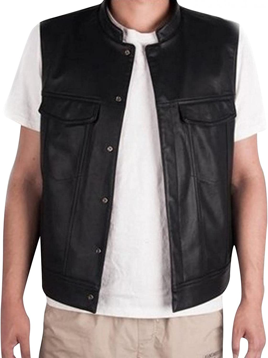 Men's Retro Stand Collar V-neck Solid Color Pocket Sleeveless Lace-up Button Leather Vest Top Blouse