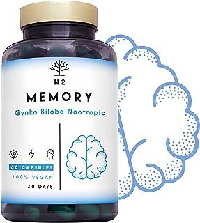 GINKGO BILOBA – Nootropico. Vitamina B12, Bacopa monnieri, Cafeina, Vitamina B6. Mejor Memoria, Concentración. Cansancio M...