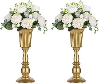 2 Piezas Florero de Trompeta Metal Flores Elegante para Centros de Mesa de Boda para Decoración de Banquetes de Boda, Arreglos de Flores Artificiales 31.9cm Altura para la Ceremonia Aniversario