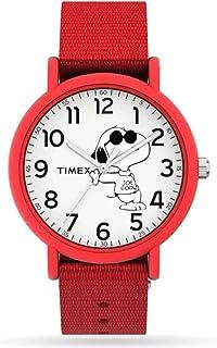 Timex TW2T66000 Unisex Snoopy Joe Cool Dog 34mm Red Slip-Thru Fabric Band Analog Watch