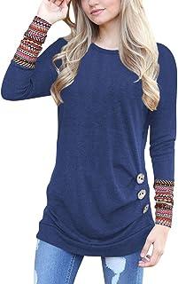 Hosam レディース トップス 洋服 ロング 長袖 Tシャツ 欧米風 ゆったり シンプル 洋服 半袖 おしゃれ 夏 春 (XL, ネイビー)