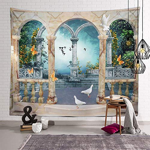 Bohemia Colgante De Pared Mantas para Sofa Tapiz De Selva Tropical Tapiz De Paisaje De Onda De Playa Tapestry Decoración De Pared para Dormitorio Sala De Estar 150X130Cm