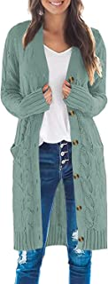 Cable Knit Open Front Cardigan Sweaters Button Down Long...
