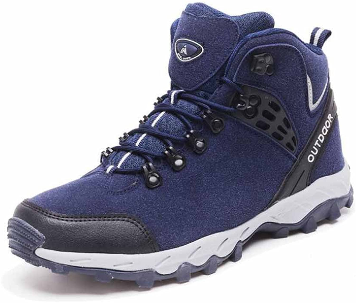 Men Outdoor Hiking shoes Autumn Winter Fur Lined Warm High Top Travel shoes Large Size Cotton shoes