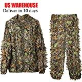 DoCred Ghillie Suit for Men, 3D Lightweight Hooded Camouflage Ghillie Breathable Hunting Suit (X-Large/XX-Large)
