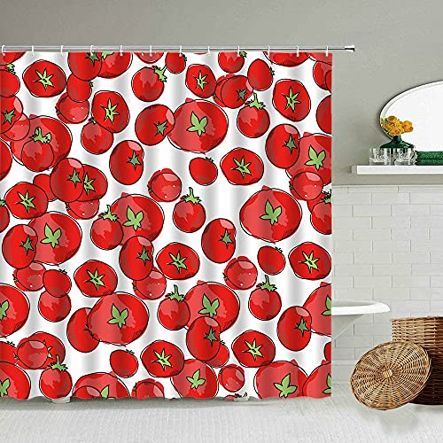 AETTP Cartoon Sommer Obst Duschvorhang Tomate Kreatives Design Badezimmer Wasserdicht Display Dekoration 180 * 180cm