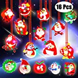 Christmas LED Necklace, Aitbay Christmas Light Up Necklace Santa Claus Snowman Pendant Xmas Necklaces for Kids Party Favors Gift Holiday Decorations (16 Pack)