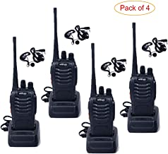 HESENATE HT-U666 Two Way Radio UHF: 400-470MHz 16-Channel Rechargeable Professional Transceiver LED Flashlight Walkie Talkie (Pack of 4)