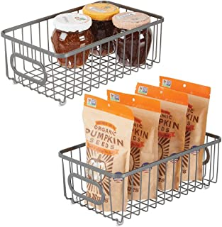 mDesign Metal Farmhouse Kitchen Pantry Food Storage Organizer Basket Bin - Wire Grid Design - for Cabinet, Cupboard, Shelves, Countertop, Closet, Bedroom, Bathroom - Small Wide, 2 Pack - Graphite Gray