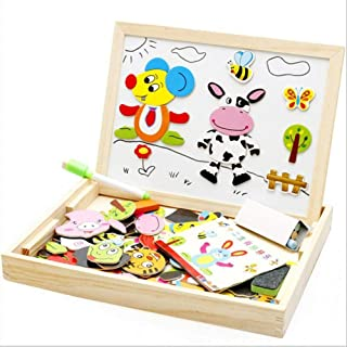 Oliwui Drawing Writing Board Magnetic Puzzle Double Easel Kid Wooden Toy Gift Children Intelligence Development Toy Animal Drawing