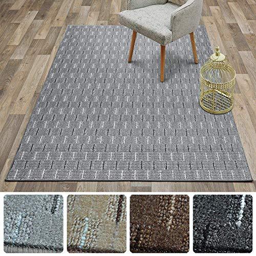 Teppichläufer Glasgow | Teppichläufer Meterware | für Wohnzimmer, Flur, Büro, Schlafzimmer, Küche, Esszimmer | gekettelt | mit Stufenmatten Kombinierbar | 4 Farben | Viele Größen (Grau, 80x300 cm)