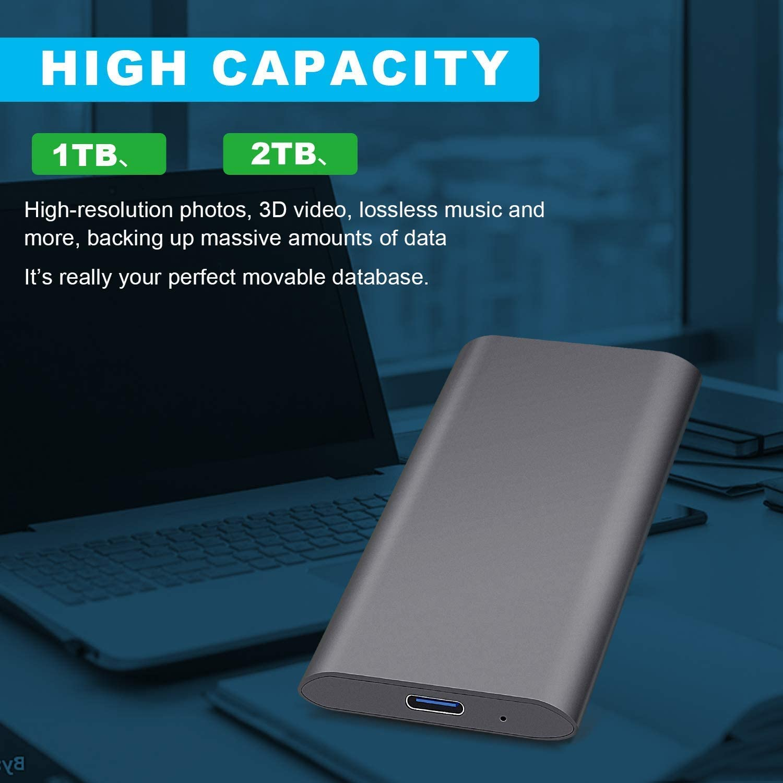 Laptop Mac Desktop 2TB-Black External Hard Drive Ultra Slim Portable Hard Drive External USB3.1 Type-C HDD Storage Compatible for PC