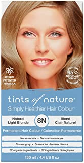 Tints of Nature 8N Natural Light Blonde, Vegan Permanent Hair Dye, 95% Natural, Free from Ammonia, Parabens, and Propylene Glycol, Single