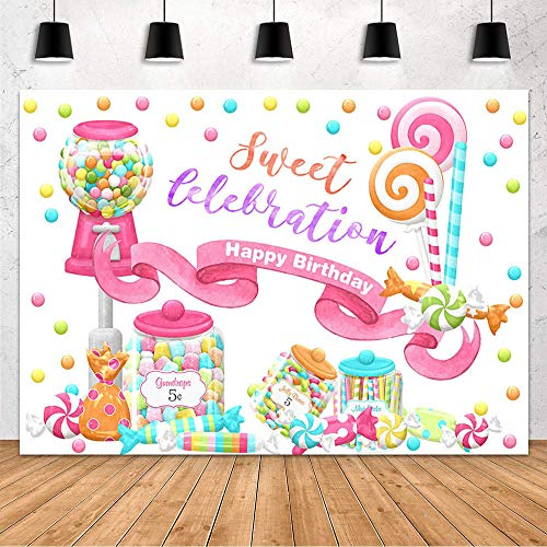 MEHOFOND Sweet Candy Backdrop Girl Happy Birthday Party Decoration Backdrop Colorful Pink Sugar Candy Jar Lollipops Banner Photography Background Photo Studio Props Vinyl 7x5ft