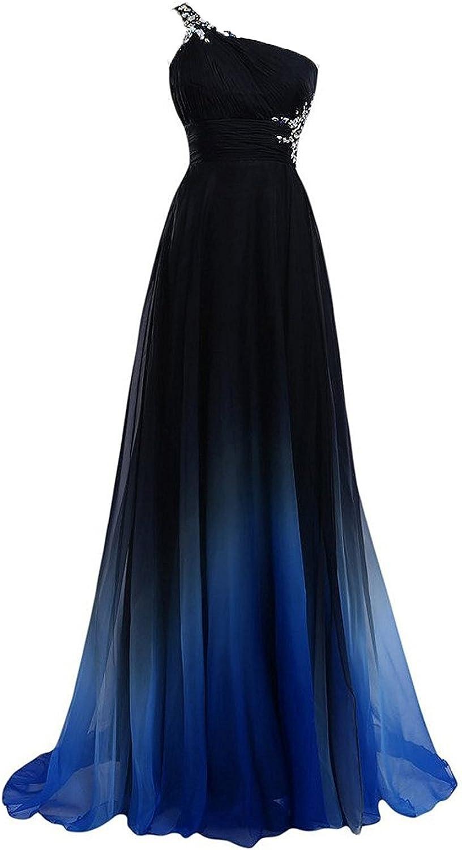 LEJY Women's OneShoulder Beading Evening Dress Gradient Prom Dress Long 2017