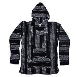 Baja Joe Striped Woven Eco-Friendly Jacket Coat Hoodie (Black, Medium)