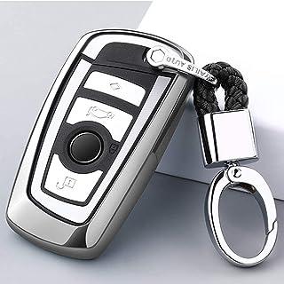 Autoschlüsselabdeckung für BMW Smart 3 Tasten Autoschlüssel Hülle Abdeckung Schlüsselanhänger für BMW 1 3 5 7 Serie X3 X4 M3 M4 M5 Keyless go Schutz,Silber