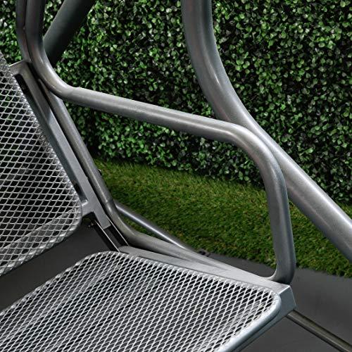 greemotion Hollywoodschaukel 3-Sitzer Toulouse – Gartenschaukel Metall in Grau-Anthrazit mit Dach in Creme – Outdoor Schwebebank für Garten, Balkon & Terrasse, wetterfest – bis ca. 300 kg - 4