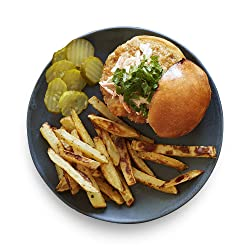 Amazon Meal Kits, Blue Cheese Chicken Burger with Buffalo Slaw & Garlic Fries, Serves 2